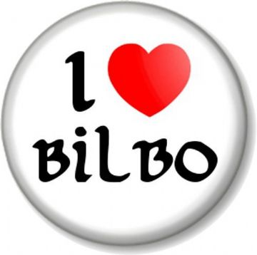 I Love / Heart BILBO Pinback Button Badge The Hobbit Lord Of Rings JRR Tolkein Baggins